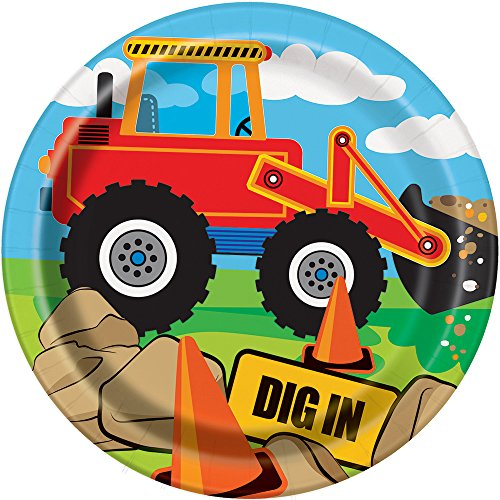 Construction Party Supplies - Construction Truck Birthday Paper Dessert Plates, 8ct - Bob The Builder Cake Decorations