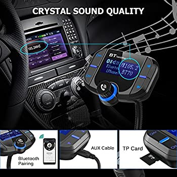 【QC 3.0】 Bluetooth FM Transmitter Car, Wireless Radio MP3 Adapter Receiver, More Stable Bluetooth 4.2 EDR, 1.8'' Large Screen Hands-Free, Perfect Sound Quality Multi Music Playing