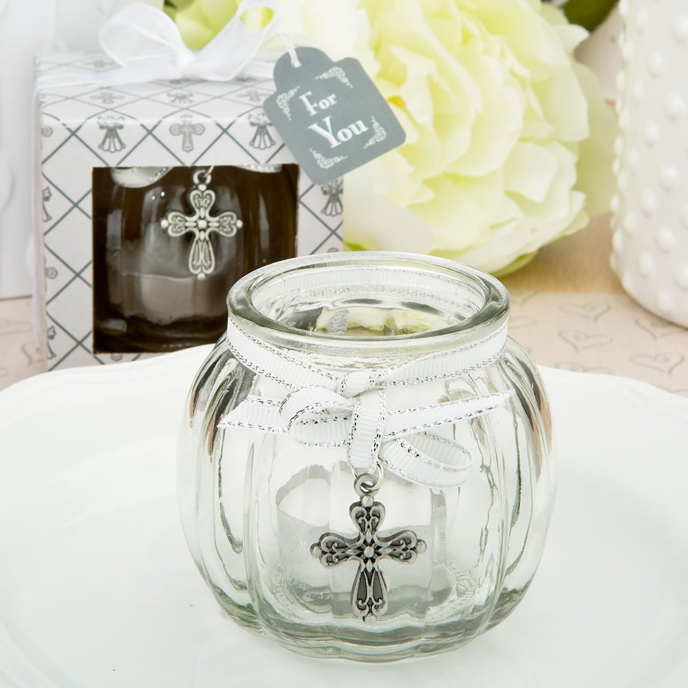 Cross themed clear glass round globe candle holder (72)