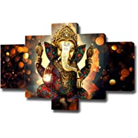 DXYJUYI Premium Quality Canvas Printed Wall Art Poster 5 Pieces / 5 Pannel Wall Decor Lord Ganesha Painting, Home Decor…