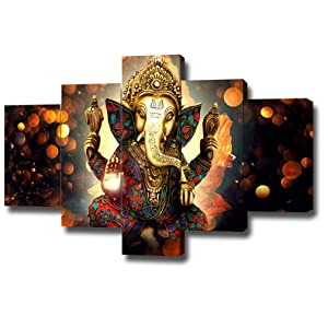 DXYJUYI Premium Quality Canvas Printed Wall Art Poster 5 Pieces / 5 Pannel Wall Decor Lord Ganesha Painting, Home Decor Pictures - with Wooden Frame