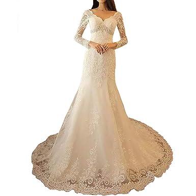 ac45c0f0525 Yuxin Crystals Lace Mermaid Wedding Dresses 2019 Long Sleeves Elegant  Appliques Bridal Gowns Ivory