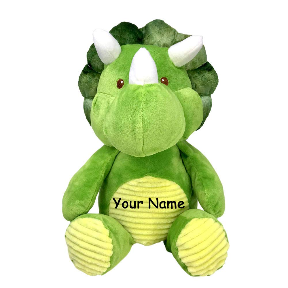 Kelly Baby Personalized Green and Yellow Dinosaur Triceratops Rattle Sound Toy Sitting Plush Stuffed Animal Toy for Boys and Girls with Custom Name by Kelly Baby