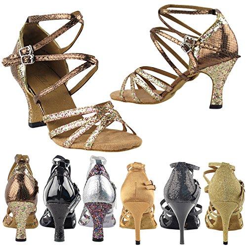 50 Nuances 5008 Robe De Soirée Confort Sandales De Pompes, Chaussures De Danse De Salon Pour Femmes (2,5, 3 Et 3,5 Talons Hauts) Arc-en-ciel Sparkle & Serpent Cuivre