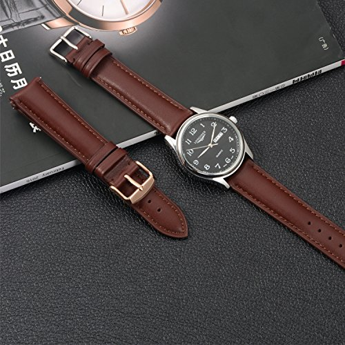 Quick Release Leather Watch Band 22mm Brown Replacement Watch Strap Genuine Polished Watch Clasp Buckle Gold Rose Padded Super Soft (18mm 20mm 22mm) by TStrap (Image #3)