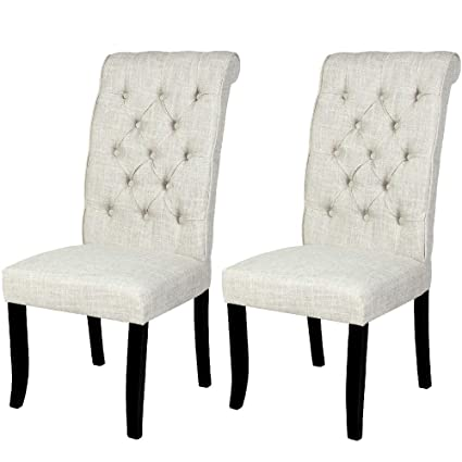 Sensational Amazon Com White Tufted Dining Chair Set Of 2 Furniture Andrewgaddart Wooden Chair Designs For Living Room Andrewgaddartcom