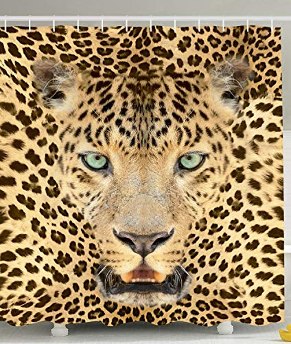 Leopard Photo - Ambesonne Wildlife Decor Wild Tiger Leopard Print Picture of Art Photos Big Cat with Green Eyes in Animal Themed Fabric Shower Curtain for The Bathroom Home and House Bath Decorations, Yellow Brown