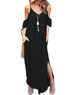 b5bf72a1 ACHIOOWA Women Maxi Dress Strapless Casual Loose Pockets Sundress  Sleeveless Summer…