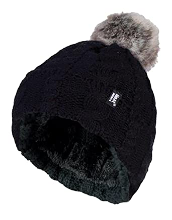 f8f2d859432 Heat Holders - Ladies Warm Knit Fleece Lined Cuffed Thermal Winter Bobble  Hat with Pom Pom (One Size