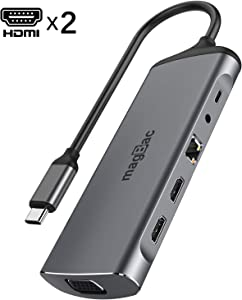 Dual Monitor Laptop Docking Station,USB C Adapter with Dual HDMI, Gigabit Ethernet,3 Ports USB, VGA, SD/TF Card Reader,Audio,100W PD Charging for MacBook and USB C Windows