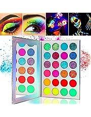Kalolary Neon Luminous Eyeshadow Palette, 24-kleuren hooggepigmenteerd make-uppalet voor oogschaduw, UV Glow Blacklight Matte en Glitter Makeup Kit voor damesmake-up