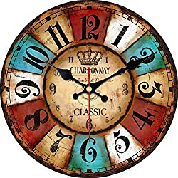 MEISTAR 16 Inch Wall Clock Silent Non Ticking Rustic Wall Clocks Large Decorative Quality Quartz Movement Decorated Living Room, Kitchen