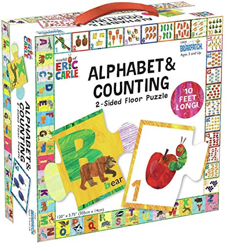 Briarpatch The World of Eric Carle ABC/123 2-Sided Floor Puzzle, Multi