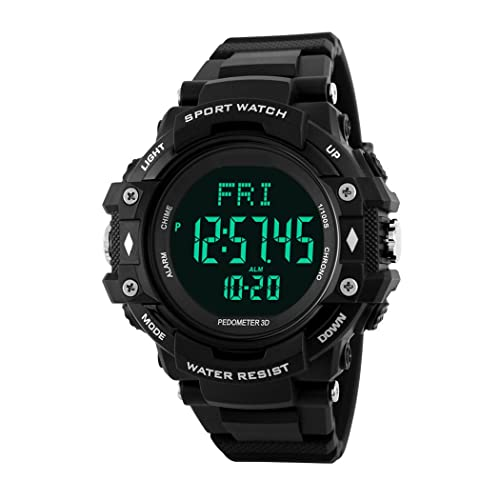 TOPCABIN Men Women Teenagers Multifuction Digital Outdoor Sport Watch with Pedometer Heart Rate Monitor Electronic Sport Watch for Boys Teenagers Junior Men Women Black