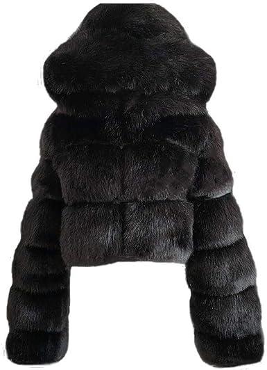 Women Winter Warm Fashion Faux Fur Open Front Soft Fluffy Short Jacket Coat