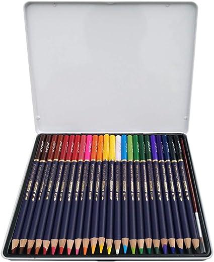 Juego de lápices de colores con caja de metal, colores únicos para dibujar y libro de colorear para adultos, set ideal para artistas, adultos y niños, color 24er Pack: Amazon.es: Oficina y