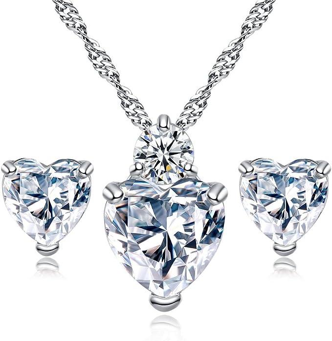Hosaire ¡ Collar Pendientes Diamante Estilo Corazón Elegante Joyería Mujer Cristal Juego de Cristal Colgante Collar + Pendientes