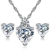 Hosaire Venta caliente! Collar Pendientes Diamante Estilo Corazón Elegante Joyería Mujer Cristal Juego de Cristal Colgante Collar + Pendientes