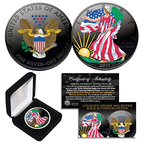 BLACK RUTHENIUM & COLORIZED 2-Sided 1 Troy Oz .999 2019 Silver Eagle Coin -