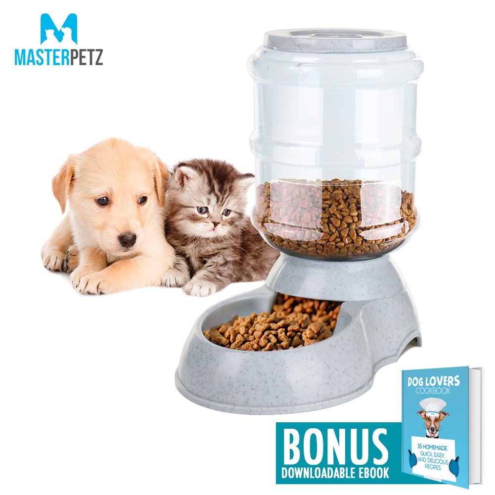 Dog Feeding Bowl for Small and Medium Sized Dogs Cats Puppy Kitten Pets with 8.3 Pound Capacity Automatic Gravity Feeder and Food Dispenser, Premium PP Safety Twist Mouth Ring with Dog Lovers Cookbook