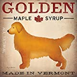Golden Dog Maple Syrup by Ryan Fowler 12x12 Signs Dogs Yellow Golden Labrador Animals Art Print Poster Vintage Advertising
