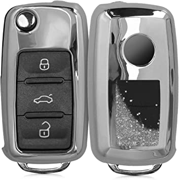 Silicone Protective Key Fob Cover kwmobile Car Key Cover Compatible with VW Skoda SEAT 3 Button Car Key White//Black