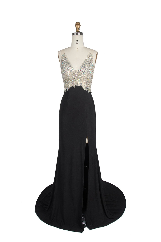 Miss Chics Women Side Slit V-neck Backless Beaded Prom Dresses Evening Dresses(10,Black) by Miss Chics (Image #3)