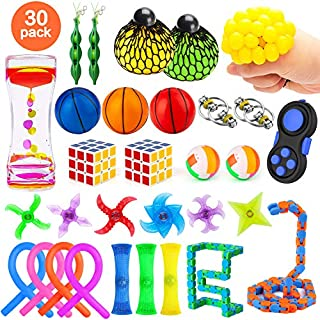 30 Pack Fidget Toys Set, Sensory Toys Bundle for Kids/Adults Stress Relief and Anti-Anxiety Hand Toys for Children, Liquid Motion Timer, Fidget Pad, Snake Cube, Puzzle Balls, Flippy Chain, and More