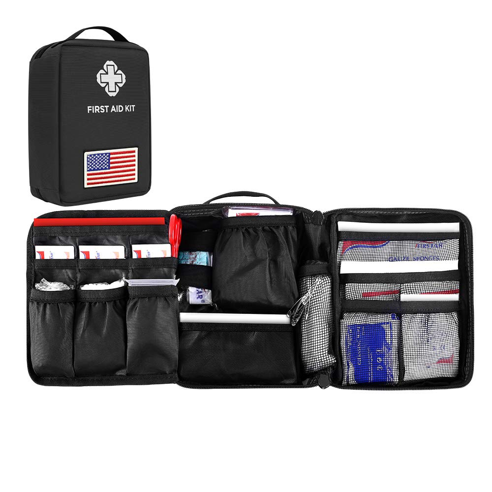 First Aid Kit, 214 Pieces Tactical Molle Medical Pouch Compact and Lightweight Emergency Bag Perfect for Travel, Home, Office, Car, Camping, Workplace by CS Force