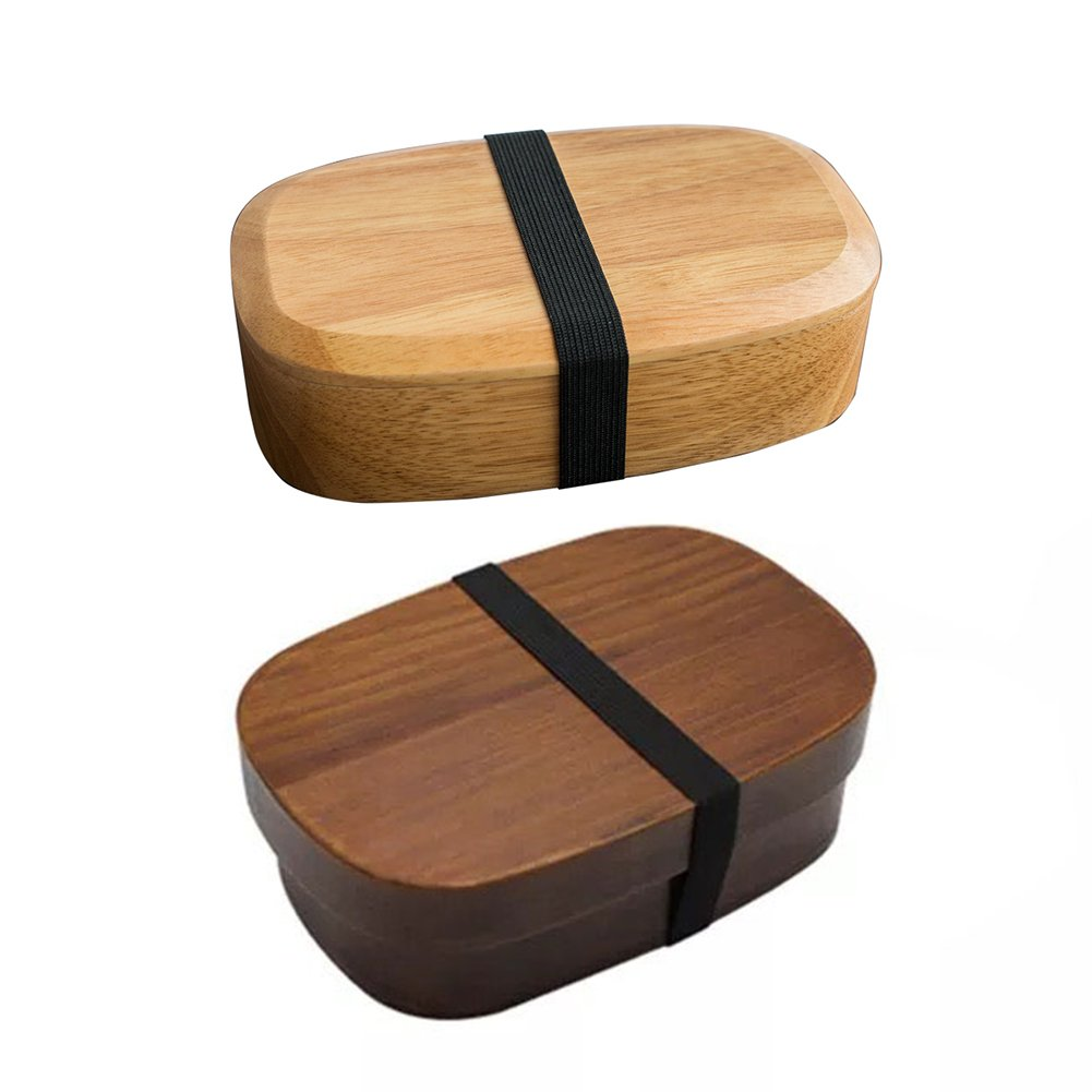 Japanese Bento Boxes Wood Lunch Box Handmade Natural Wooden Sushi Box Tableware Bowl Food Container Tableware Bowl (A) Sue Supply