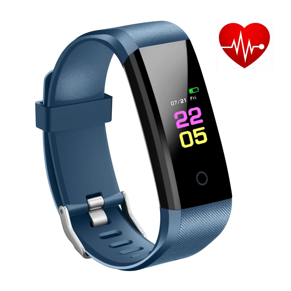 Fitness Tracker with Heart Rate Monitor Watch, Activity Tracker Blood Pressure Monitor, Waterproof Heart Watch with Calorie Step Counter, Pedometer Watch for Kids Women Men, compatible Android iPhone