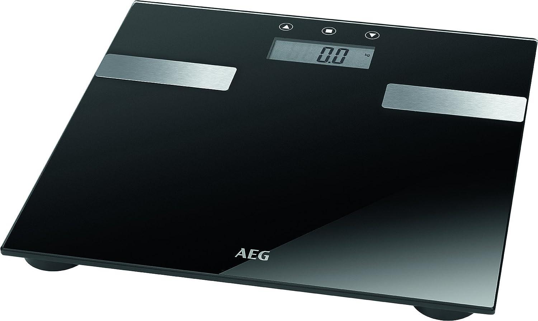 AEG  PW 5644 FA - Báscula de análisis corporal de 7 funciones, de cristal y acero inoxidable,LCD,  Negro
