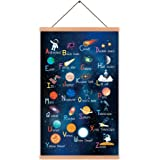 KAIRNE Outer Space Art Print with Wood Magnetic Poster Hanger Frame, Astronomy Alphabet Letters Canvas Wall Art,Abstract…