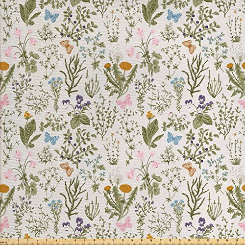 Ambesonne Floral Fabric by the Yard, Vintage Garden Plants with Herbs Flowers Botanical Classic Design, Decorative Fabric for Upholstery and Home Accents, Beige Reseda Green Pink Blue (Quilt Vintage Fabric)