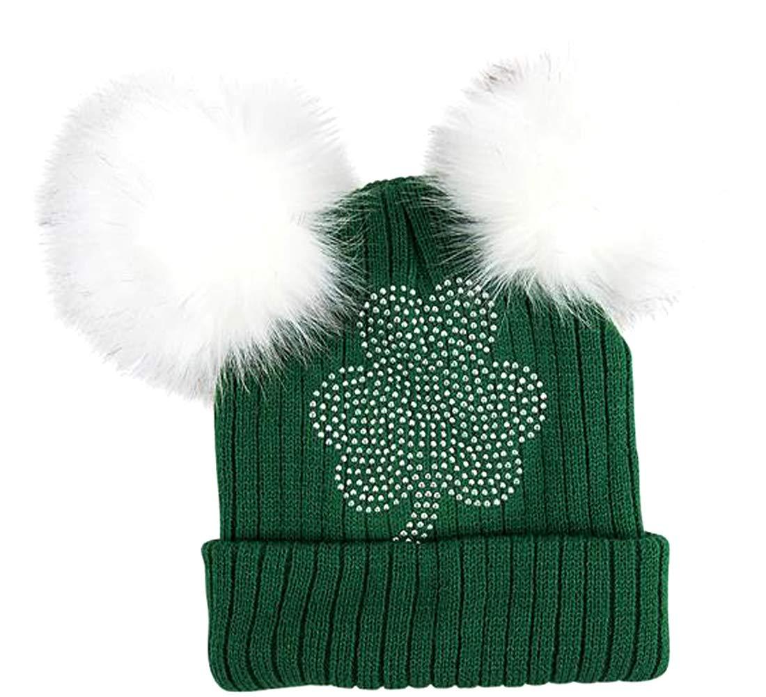 7973378a699f6d ThatsRad St. Patricks Day Double Pom Knit Beanie Hat Cap Shamrock ...