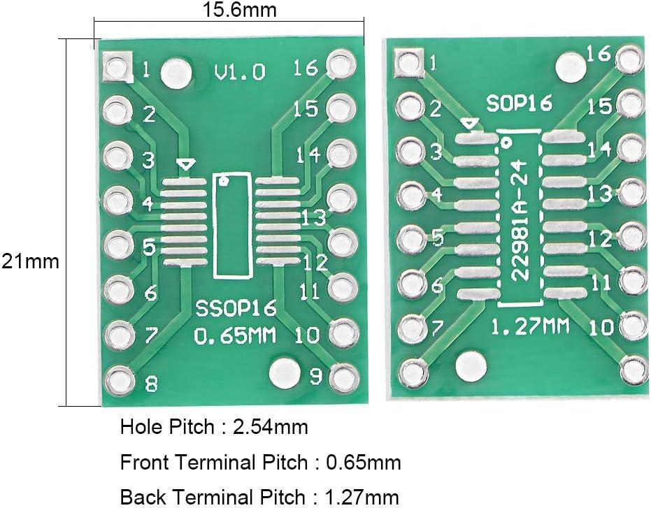 SOP 14PIN 1.27 zu DIP Adapter PWB Brett SMD Konverter DE sourcing map 50 St/ück SSOP 14PIN 0.65