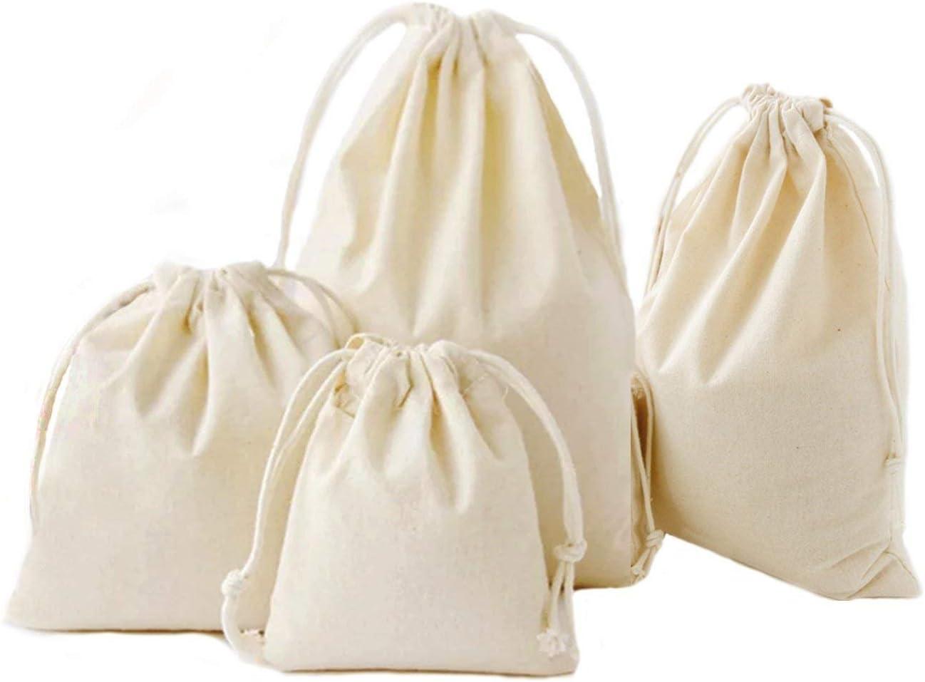 Abaría - 4 Unidades Bolsa de algodón con Cuerdas – Pequeña Saco Bolsas - Bolsa Inserto Organizador para bebé Ropa Juguete pañales - Bolsa de Regalo - 25x 30 cm, 19 x 23 cm, 14 X 16