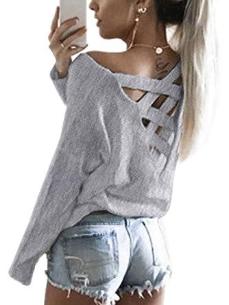 84bb7efba864 Yieune Oberteile Tops Damen V Ausschnitt Oversized Kreuz Rückenfrei Pullover  Langarmshirts T Shirt (Grau,