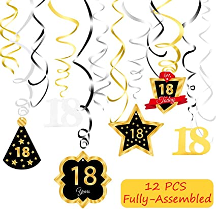 Chic 18th Birthday \u2013 Pink and Gold Hanging Decorations Party Decorations Set of 6