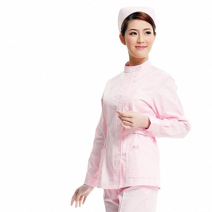 Xuanku Enfermera Farmacia Cosmética Dental Invierno Manga Larga Cuerpo Vestido De Bata Blanca Monos, Xl, Rosa: Amazon.es: Ropa y accesorios