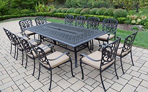 Oakland living 13 piece hampton aluminum set with dining for 13 piece dining table set