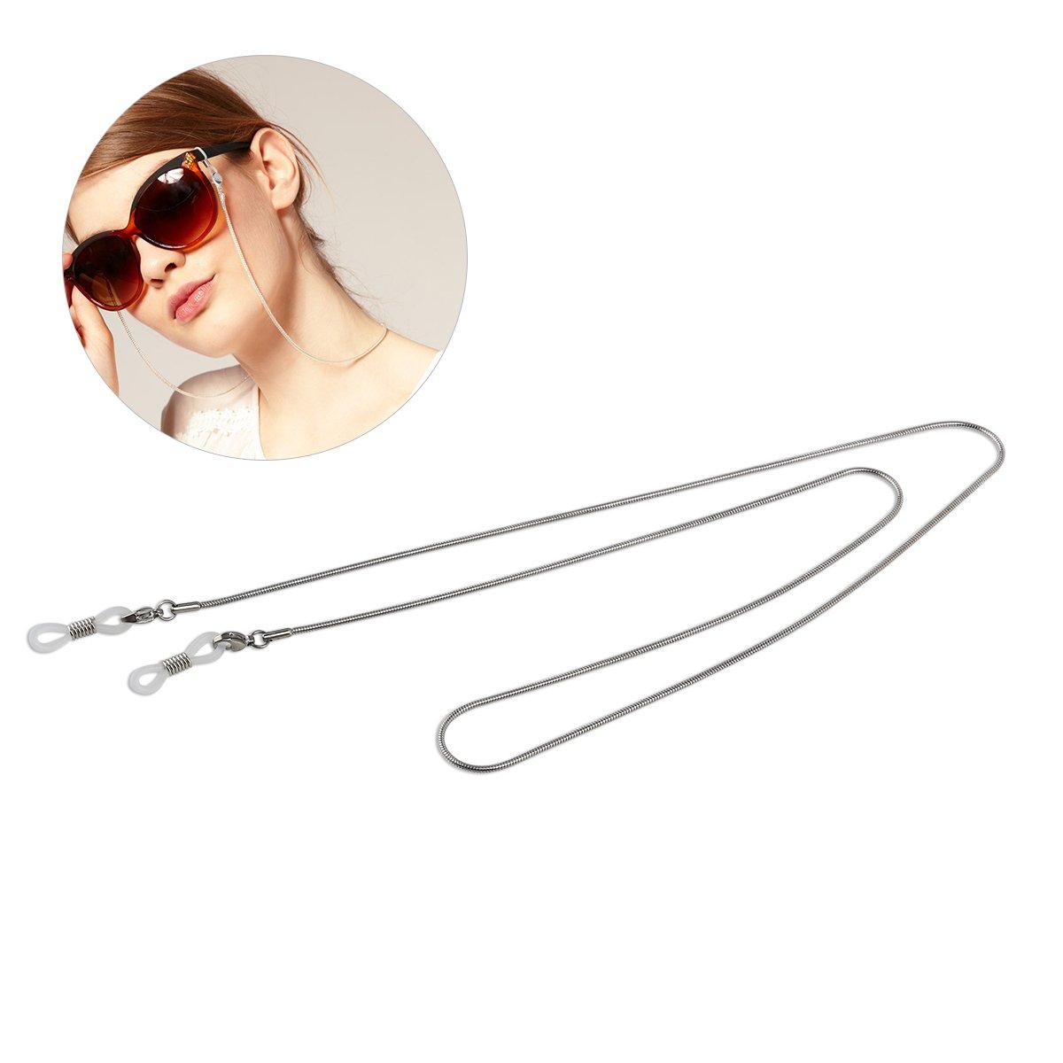 LUOEM Copper Eyeglass Sunglasses Chain Cord Neck Strap Holder Long Non-slip (Silver) ULBZ151626QE89N5094