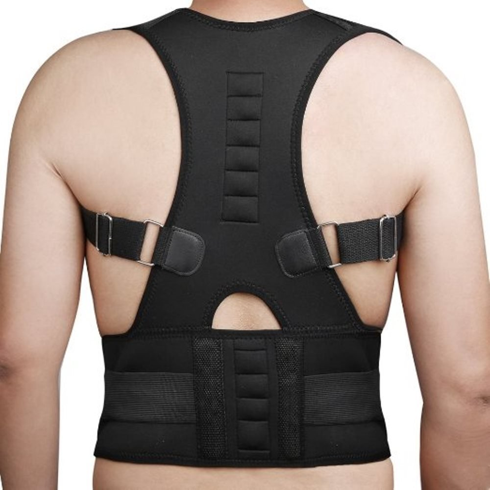 Medical-Grade Adjustable Magnetic Posture Support Back Brace - Relieves Neck, Back and Spine Pain - Improves Posture (Black)