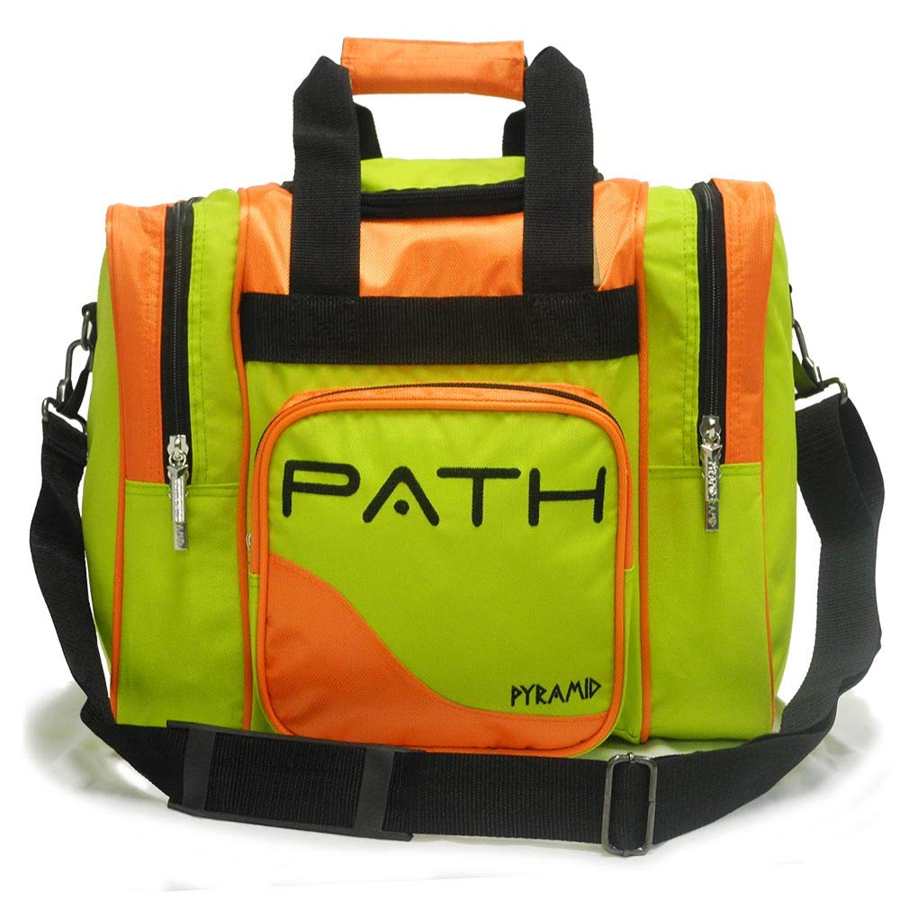 Pyramid Path Pro Deluxe Single Bowling Ball Tote Bowling Bag - Holds One Bowling Ball, One Pair of Bowling Shoes Up to Mens 15 Shoes and Accessories (Lime Green/Orange) by Pyramid