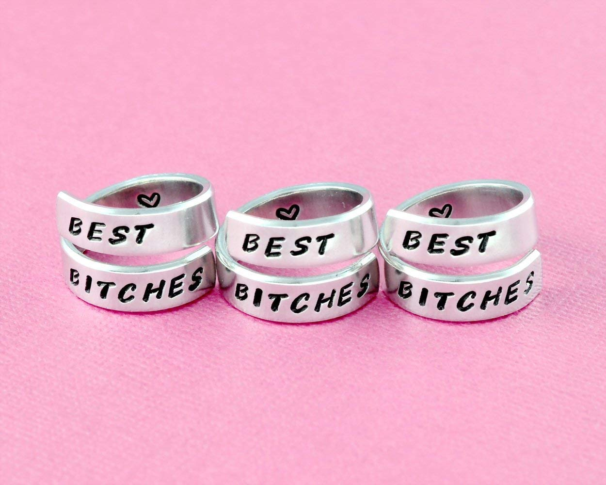 967e6424c9236 BEST BITCHES - Hand Stamped Aluminum Spiral Wrap Rings Set of 3 ...
