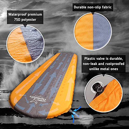 Self Inflating Sleeping Pad Lightweight – Compact Foam Padding Waterproof Inflatable Mat – Best for Camping Hiking Backpacking – Thick 1.5 Inch for Comfortable Sleep – Insulated Camping Mattress