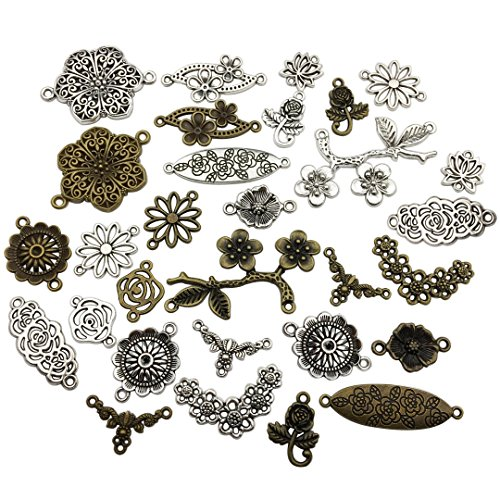 100g Craft Supplies Mixed Flower Connector Pendants Beads Charms Pendants for Crafting, Jewelry Findings Making Accessory for DIY Necklace Bracelet (Flower Charms Connector M88)