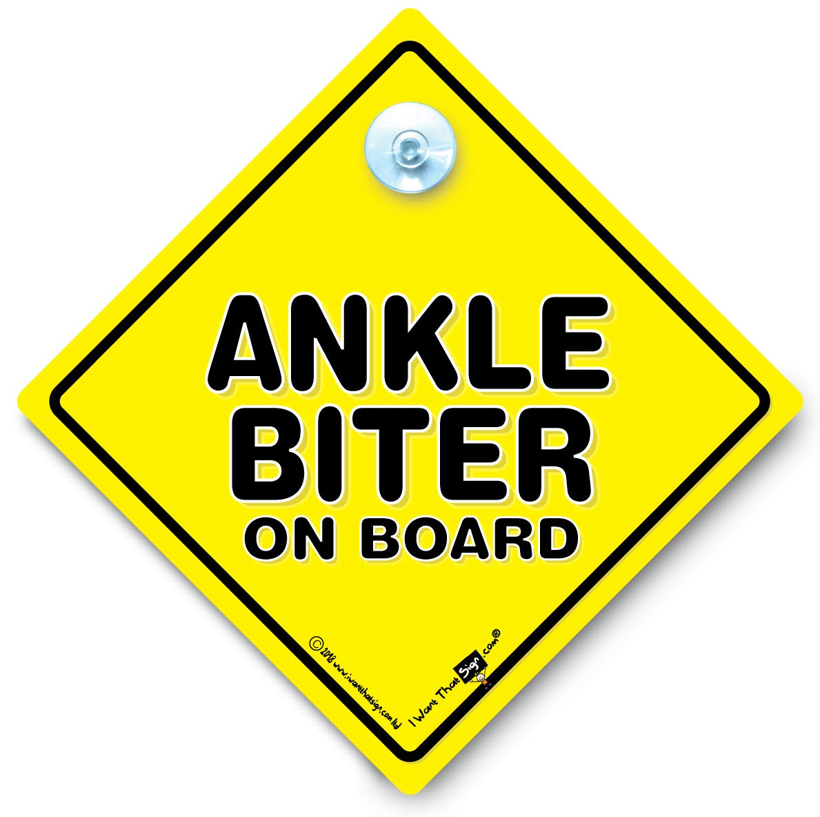 Ankle Biter On Board Car Sign, Baby on Board Sign, Suction Cup Car Sign, Car Window Sign, Decal, Funny Car Sign, Joke Car Sign iwantthatsign.com