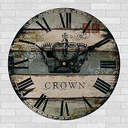 Amazon.com: 12-inch continental retro living room wall clock wood decorative wooden clocks and creative American wall quartz wall clock 30cm,W-12 inch: Home ...