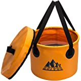 Collapsible Bucket Camping Water Container Bucket Compact with Lid Wash Basin Portable Bucket , for Camping,Travel , Hiking, Fishing ,Boating and and Gardening